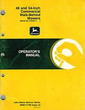 "JOHN DEERE 48 54-INCH COMMERCIAL WB MOWERS OPERATOR'S MANUAL jd ""NEW"""