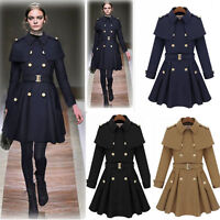 Womens Wool Blend Jacket Double-Breasted Cape/Cloak Trench Long Warm Coat Jacket