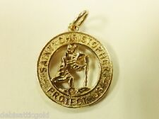 Vintage 14k Yellow Gold Saint Christopher Protect Us Pendant 3D Charm 4.5g Nice