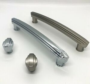 Art Deco Cabinet Handles Cupboard Knob and Pull Polished Chrome and Satin Nickel