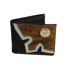 Mens Genuine Leather Wallet Western Cowboy Rodeo Fur Bi-Fold Mexican Billetera