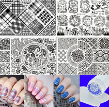 Multi-patterns Grids Paisley Nail Art Stamping Plates Kit with Clear Stamper Set