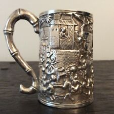 Rare CUMWO Chinese Export Sterling Mug / Christening Cup / China 1900 / Britain