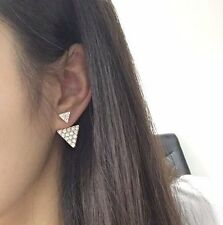 Pave Crystal Studded Triangle Arrow Spike Gold Ear Jackets Cuff Earrings Urban