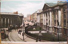 Irish Postcard TRINITY COLLEGE Green Trams DUBLIN Ireland Lawrence Inland 8114