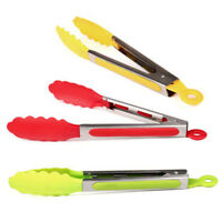 7 Color Silicone Kitchen Cooking Salad Serving BBQ Tongs Stainless Steel Utensil