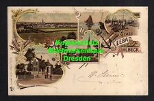 114341 AK Ahlbeck 1899 Litho Bade Bureau Kirche Fischer bei der Arbeit Fischerbo