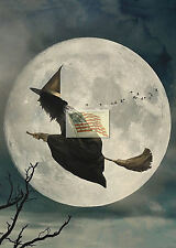 REPRINT PICTURE of a print HALLOWEEN WITCH B AND MOON 5x7