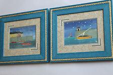 Décoration murale tableaux phares marine cadres bois naif enfant , cuisine Neuf