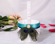 1Pcs Peacock Feather White Satin Wedding Flower Girl Basket N3