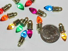8pc Imperfect Lot Tiny Christmas Lights bulb charm bead findings supplies 18mm