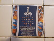 Beer Coaster ~ Anheuser-Busch BUD LIGHT Super Bowl 2012 Sweepstakes NFL Football