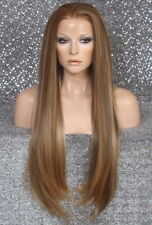 Long Human Hair Blend Lace Front Wig Straight Carmel Blond Brown Heat OK A017