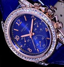 Excellanc Uhr Damenuhr Armbanduhr Blau Rose Gold Farben Strass  L20