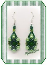 Handcrafted Gemstone Beaded Earrings..Greens..Silver Plated Hooks ..Beautiful...