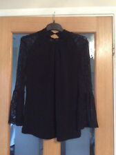Ladies Next Lovely smart Black blouse Size 12 with Lace Arms And Neck Bnwt