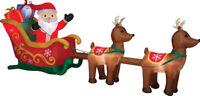 "CHRISTMAS SANTA REINDEER SLED SLEIGH  INFLATABLE AIRBLOWN YARD DECORATION 12.5 """