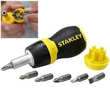 Stanley 7pc Multi Bit Ratchet Stubby Screwdriver with Driver Bits Pozi Phillips