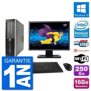 "PC HP Compaq 6200 Pro SFF Ecran 19"" G630 RAM 16Go Disque 250Go Windows 10 Wifi"