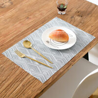 4Pcs/set Gray Placemats Washable Dining Table Place Mats PVC Kitchen Table Pad