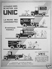 PUBLICITÉ 1927 CAMIONNETTES UNIC SONT INUSABLES - ADVERTISING