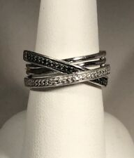 Black and White Diamond Sterling Silver 925 Ring