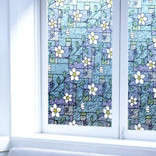 "17.72""*78.74"" Window Films Blue Floral Glass Sticker Privacy Decor Self Adhesive"