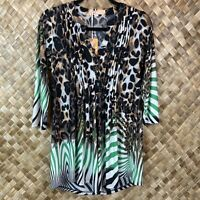 LA CERA Small Leopard Animal Print Green 3/4 Sleeve V-neck Tunic Top Blouse