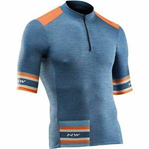 Northwave Epic Jersey Medium/Large Short Sleve Merino Orange Blue NEW