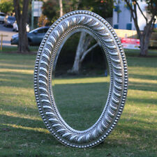 Wooden Oval silver Large Silver Mirror on Mirror with Beaded Framee 80CM * 55CM