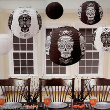 6 Assrtd Skull Black And White Halloween Hanging Lantern Paper Ball Decorations