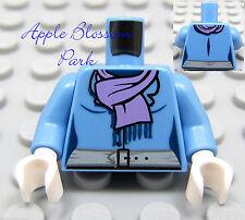NEW Lego FEMALE MINIFIG TORSO Medium Blue Girl Shirt w/Purple Scarf White Hands