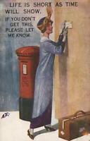 1920 VINTAGE ENGLAND COMIC TRAVELLING LADY POSTING A LETTER POSTCARD