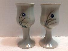 """Handmade Pottery 2 Goblet Pedestal Cup Mug Signed """"Willingham"""" Floral Studio Art"""