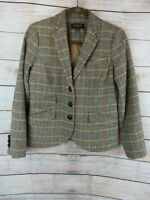 Talbots Womens Jacket Petite Size 6 Wool Blend Plaid Tweed Blazer Patch Elbow