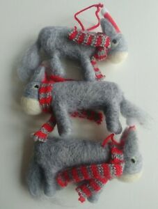 3 x DONKEY in SANTA HAT boiled wool Christmas tree decorations NEW