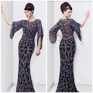 NWT PRIMAVERA COUTURE 9713 EMBLISHED SEQUINED BLACK MULTI BELL SLEEVE GOWN $299