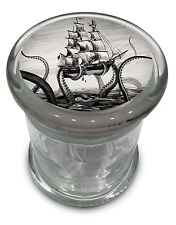 "Kraken Herb Jar Vintage Pirate Ship Glass Jars Air Tight Lid 4.5"" BIG Octopus"