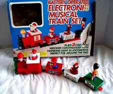Electronic Christmas Train Set Battery Operated Vintage 1985 Hong Kong