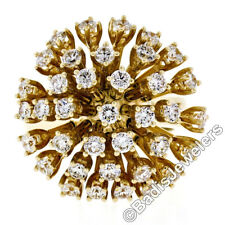 Large 14K Yellow Gold 2.75ctw Diamond Round Domed Mobile Cluster Cocktail Ring