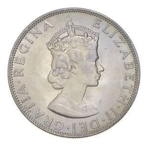 Choice BU Unc 1964 Bermuda 1 Crown Silver Coin - Mint State *800