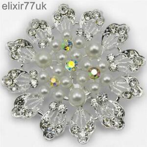 """2.3"""" versilberte Blume Perle Brosche Diamant Kristall Hochzeit Braut Broach UK"""