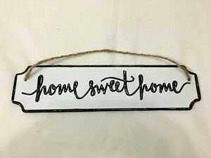 "Home Sweet Home Rustic Distress FARMHOUSE 3"" x 12"" METAL Wall Decor / Door Sign"