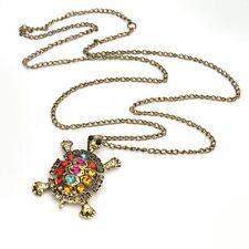 Femme Rétro Collier Chaîne Pull Tortue Pendentif Sautoir Bronze Bijoux Cadeau NF