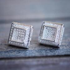 Mens Hip Hop White Gold Square Diamond Earrings