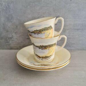 2 Art Deco Crown Devon Teacups Saucers souvenir ware Flynns Beach Port Macquarie