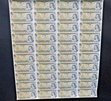 1973 Canada Bank note Sheet Uncut 40 X $1 RARE prefix  ECV