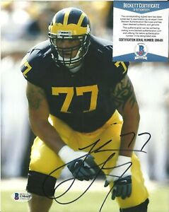 Jake Long Signed Auto 8x10 Photo Beckett BAS COA Michigan Wolverines