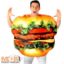 Burger Adults Fancy Dress Fun Food Cheeseburger Hamburger Mens Ladies Costume