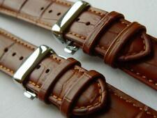 Genuine Calf Leather Watch Strap Croco Patt. Deployant Clasp Sprung Light Brown